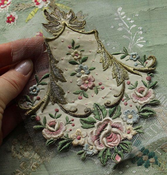 Antique gorgeous French silk metal applique floral piece trim roses curving pastel thread
