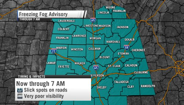 Freezing Fog Tuesday night into Wednesday morning