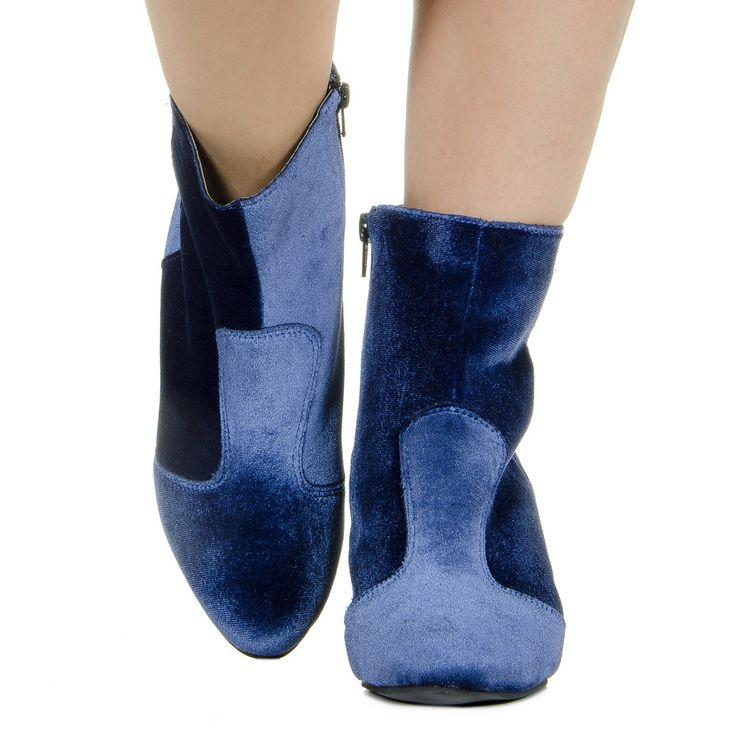 Bota marinho de veludo Taquilla - Taquilla: Calçados femininos online