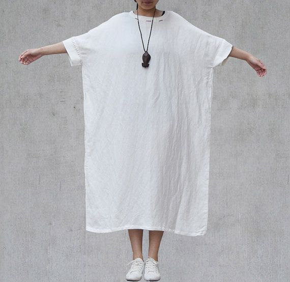 White Oversized Kaftan Dress Bat Wing Sleeve by Jessieclothing