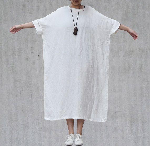 White Oversized Kaftan Dress Bat Wing Sleeve by Jessieclothing