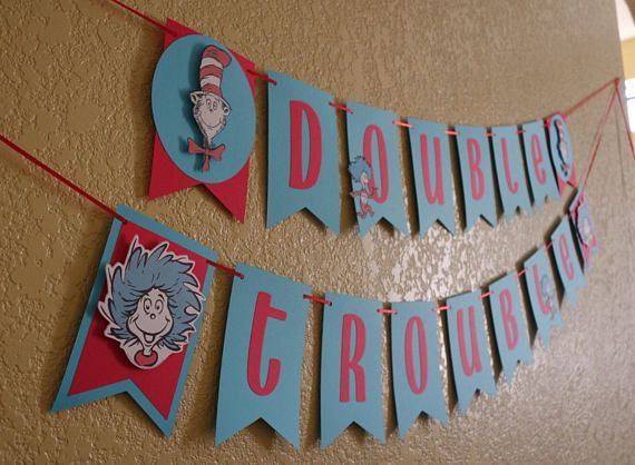 216527ca26a7c Dr. Seuss Inspired Banner, Thing 1 and Thing 2 | Products in 2019 ...