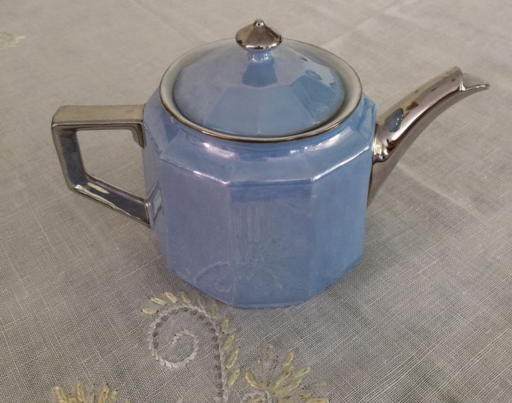 Vintage Teapot, Art Deco Lustreware, Blue &Silver, Made in Germany, Eclectic Tea Set by CakeBoxVintage on Etsy