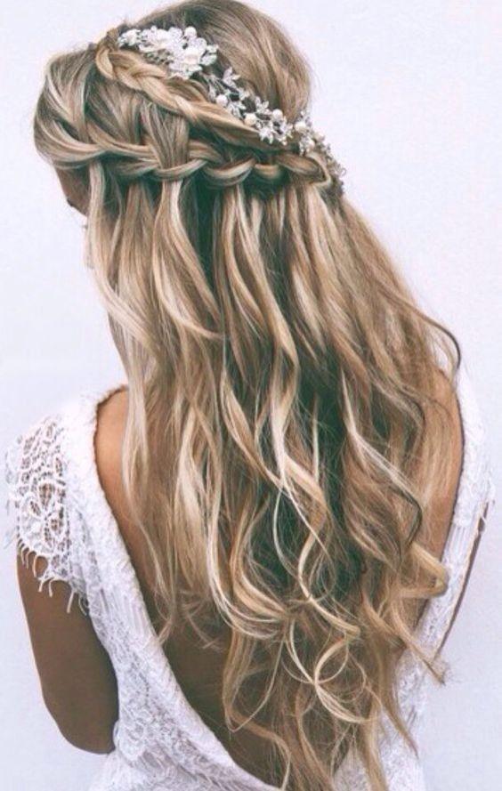 Balayage wavy hair with waterfall braid