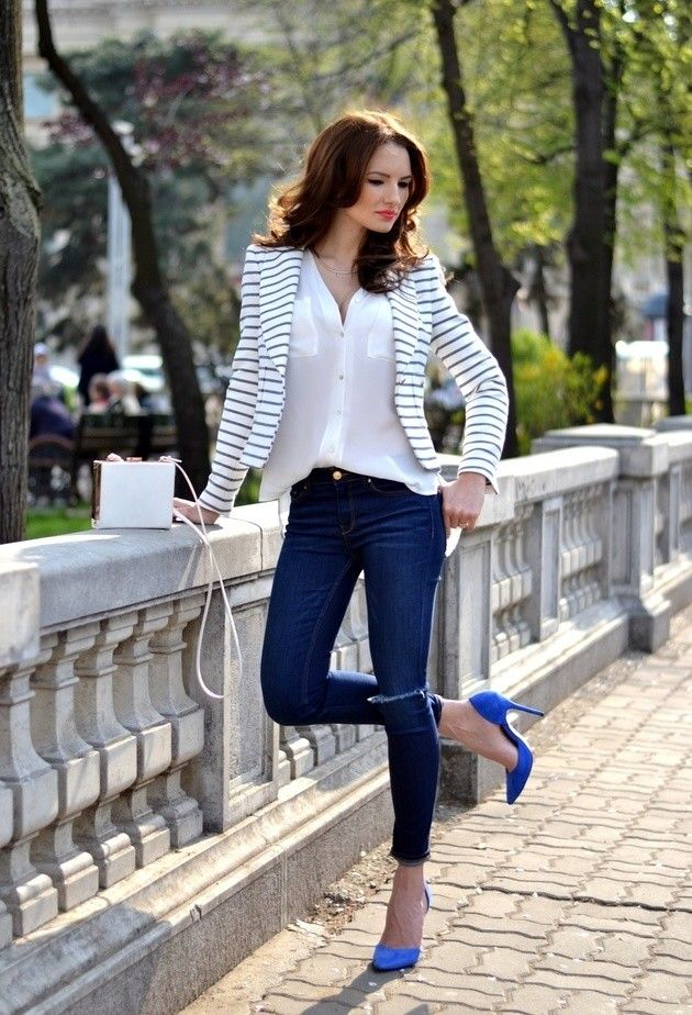 Striped blazer, white button up, dark blue skinnies and bright heels. Perfect for casual Friday!