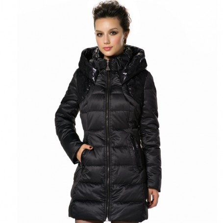 Double Stand Collar Hooded Down Jacket