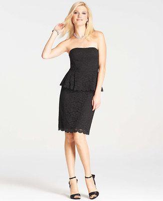 Strapless Lace Peplum Dress