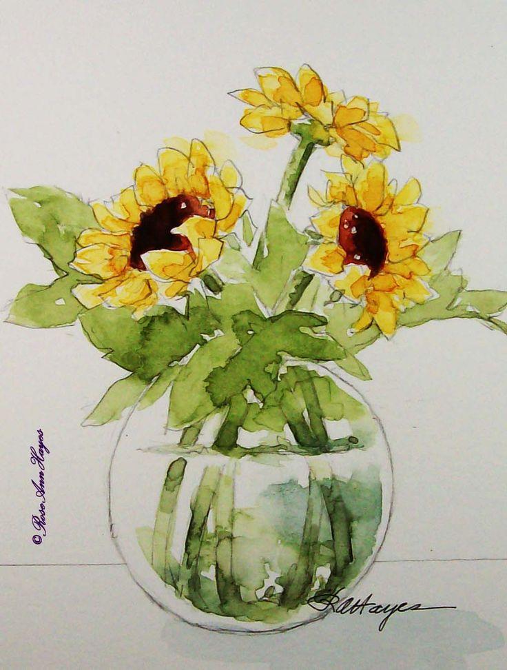 Watercolor Paintings by RoseAnn Hayes: Sunflowers Original Watercolor Painting
