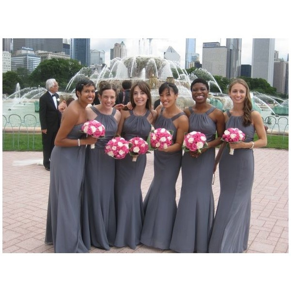David's Bridal Elegant Grey/ Pewter Bridesmaid Dress .....color maybe?