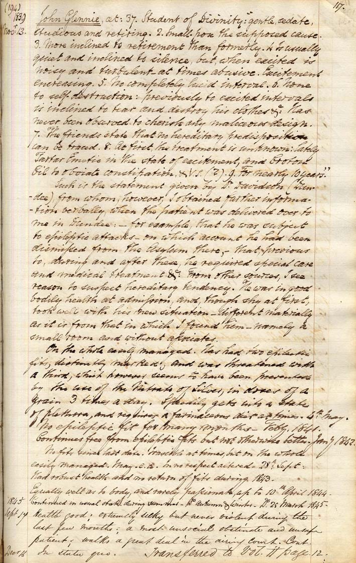 One of the pages of Case Book 1 from Dundee Royal Infirmary (1834-1842).  Held at the Dundee University archive.