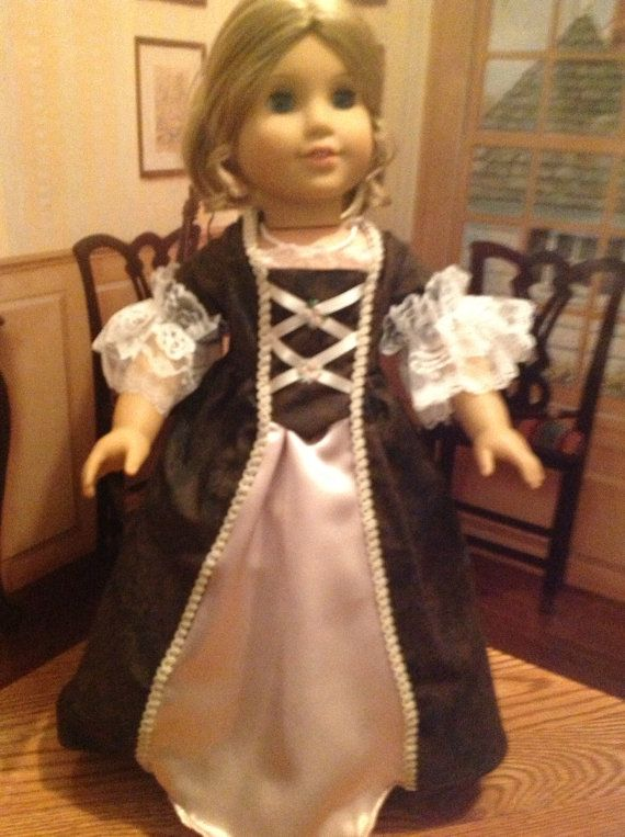 American Girl Doll Chocolate Colonial Style Dress on Etsy, $15.00