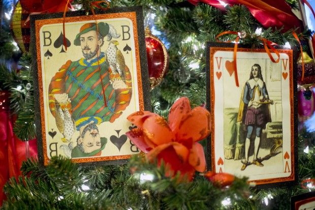 Antique playing cards holiday decorating idea