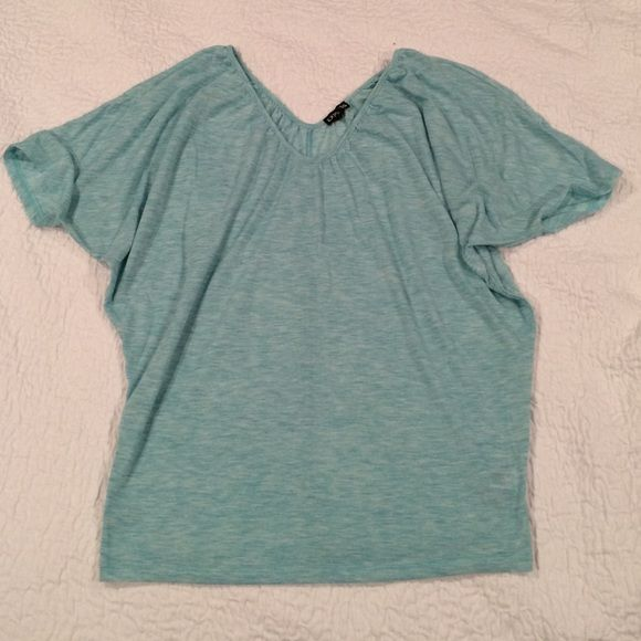 Express Blue batwing cotton top Express blue heather batwing top, great for summer or spring, v-neck shape. Express Tops Tees - Short Sleeve