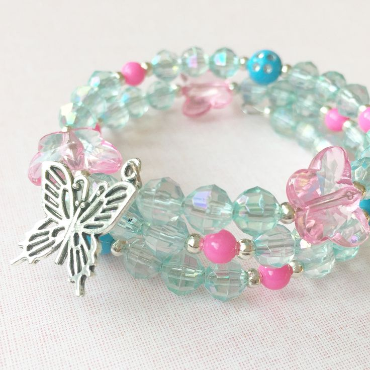 Jewelry Making Birthday party kits by Beading Buds.  Blue and pink bracelet with butterfly charm.