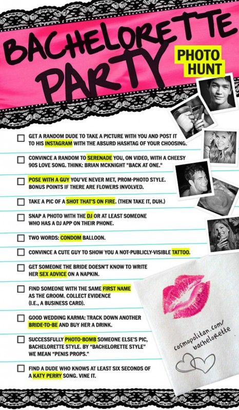 Bachelorette Party Game - Scavenger Hunt Some good ideas for friends getting married!