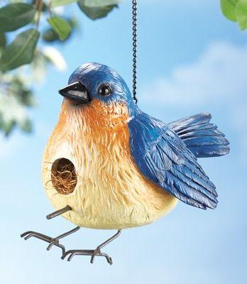 Chubby Blue Bird Hanging Birdhouse  http://www.collectionsetc.com