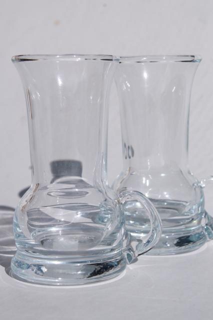 Holmegaard Scandinavian modern weighted bottom vodka shot glasses, hand blown glass handles