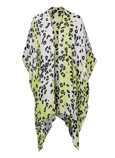Animal print poncho wrap. Length 190cm, width 100cm. Viscose.