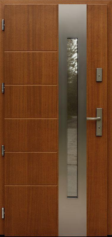 Drzwi wejściowe z aplikacjamii ze stali nierdzewnej inox wzór 475,4-475,14 ciemny dąb