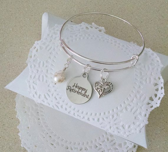 Retirement Gift For Woman, Retirement, Happy Retirement, Gift for Retirement. Teacher Appreciation, Nurse Retirement Bangle bracelet with Happy