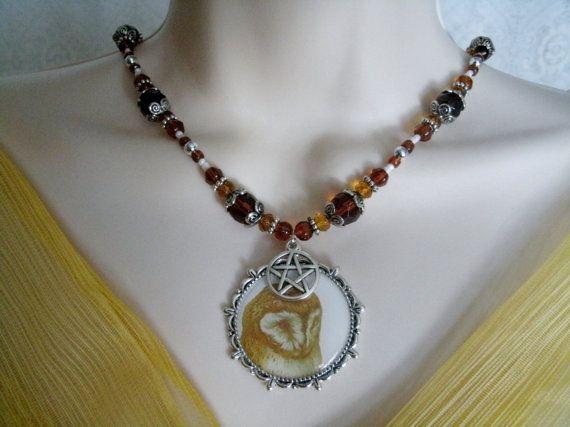 Godin Athena Owl Pentacle ketting Wicca sieraden door Sheekydoodle