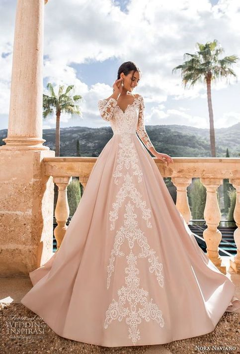 Romantic princess pink a line wedding dress v back chapel train sweetheart neckline long-sleeved bridal gown