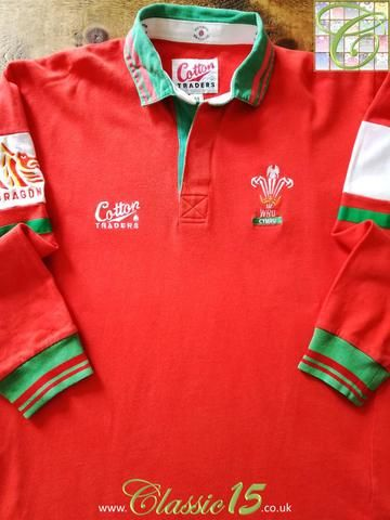 Official Cotton Traders Wales long sleeve home rugby shirt from the 1993/1994 international season.