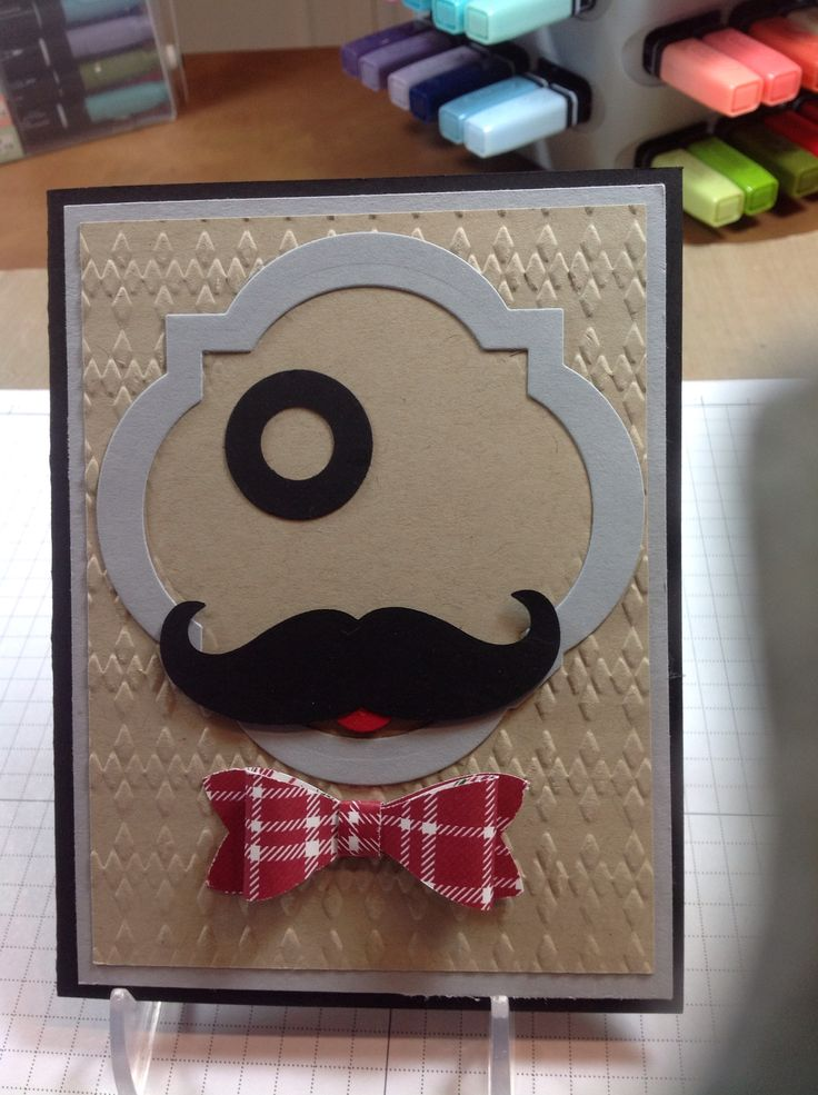 Stampin' Up! card made with the new (2015) Bow Builder punch and the  Mustache and Window Frames Collection framelits.
