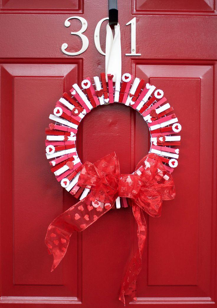 Valentine's Day Clothespin Wreath