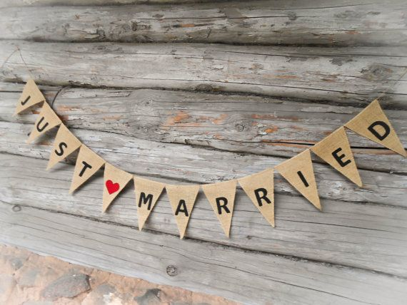 Just Married Bunting Just Married Sign Just by ViViCreative