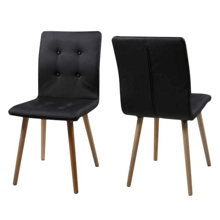 Chaise capitonnée Kaja II (lot de 2) - Imitation cuir Noir