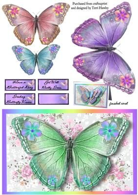 This is a great easy to make 3D card front.  If you like you will love this design, as its all butterflies.  Has 3 labels  Have a butterful day.  Sending butterfly Kisses.  Get Well really soon.  and a blank so you can use your own greetings.