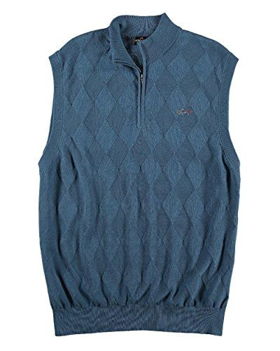 Greg Norman - Men's - Solid Argyle/Diamond Jacquard 1/4 Zip Golf Sweater Vest  Funnel neck  Quarter zip front  Sleeveless  Pull over style
