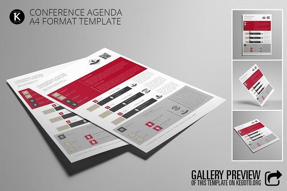 Conference Agenda A4 Format by Keboto on @creativemarket - agenda format