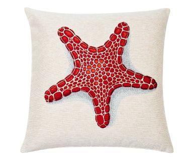 Federa per cuscino in cotone e poliestere rosso e beige Seastar