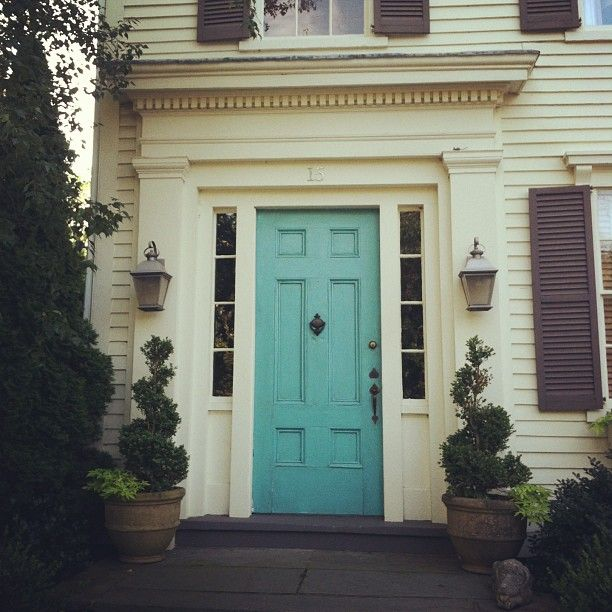 turquoise front door white siding slate shutters federal styling