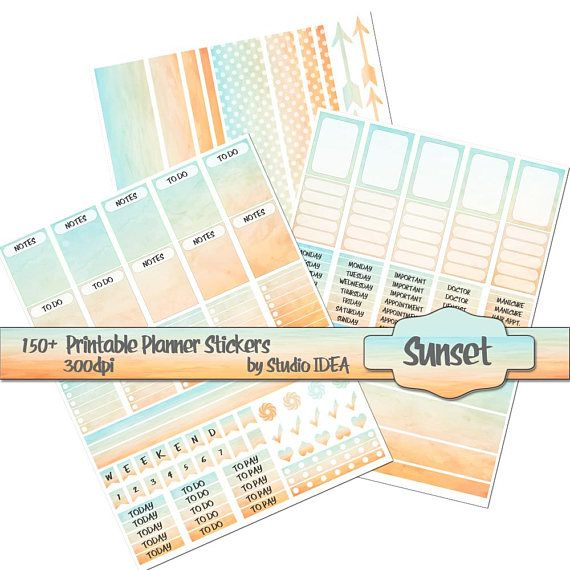 Printable Planner stickers 300dpi Sunset Planner
