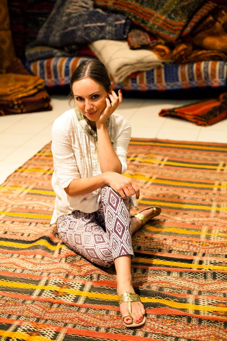 Kelly Framel: Prints Pants, Daily Outfits, Carpets Rugs Blankets, Bohemian Textiles, Marrakech Morocco, Diaries, Outfits Ideas, Gold Sandals, Beautiful Rugs