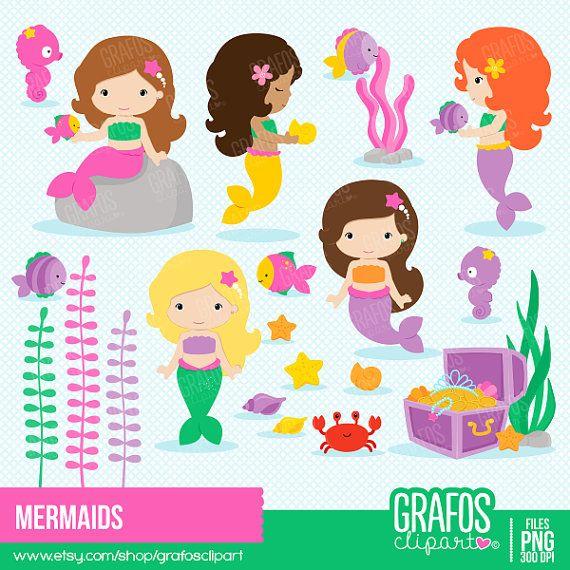 MERMAIDS  Digital Clipart Set Mermaids Clipart by GRAFOSclipart