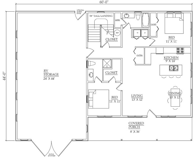2 bedroom house plan with garage home plans ideas for Rv apartment plans