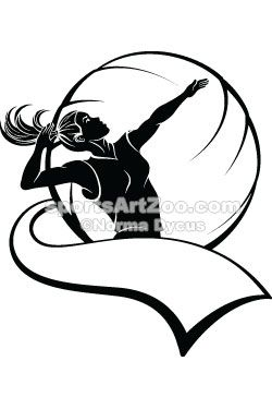 Sports Art Zoo - Girl-Volleyball-Player-with-Pennant #volleyball #sportsartzoo