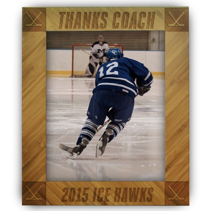 hockey bamboo engraved picture frame thanks coach chalktalksportscom