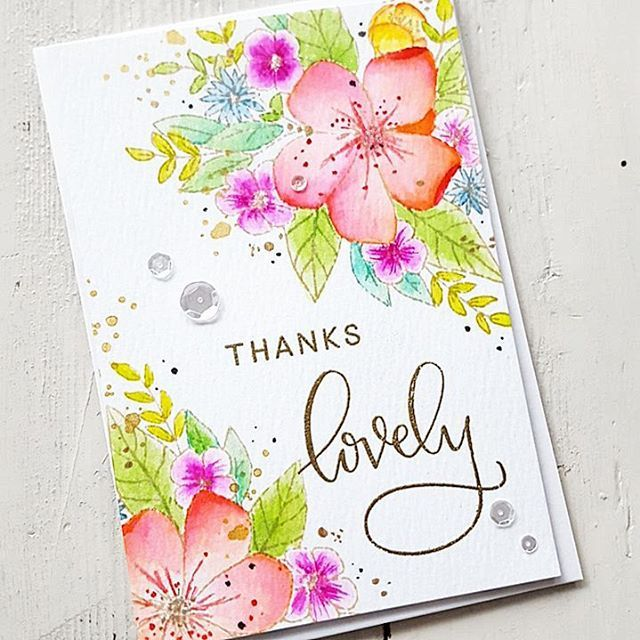 The incredible 'Hello Lovely' Stamp Set by @concordand9th wasn't available for a while but then it was back in stock and I bought it instantly. It's such an awesome Set. I watercolored the flowers and leaves with my Zig Brush Pens using the no-line coloring technique. #handmade #handmadecard #handmadecards #card #cardmaking #papercraft #papercrafts #papercrafting #stamping #embossed #embossing #watercolor #watercolour #watercolors #nolinecoloring #concordand9...