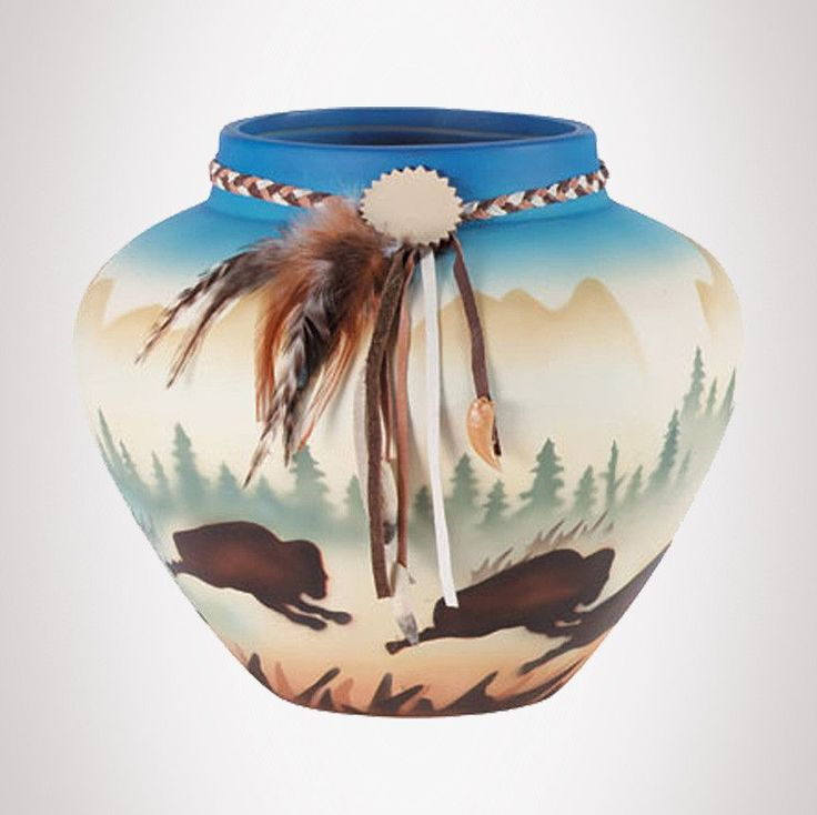 Item #33158 - Southwestern Vase with Buffalo. SPECIAL PURCHASE! ONLY 1 LEFT!
