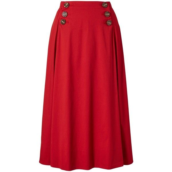 Winser London Poplin Circular Skirt , Chilli (€145) ❤ liked on Polyvore featuring skirts, chilli, flared skirt, circular skirt, red pleated skirt, knee length circle skirt and flare skirt