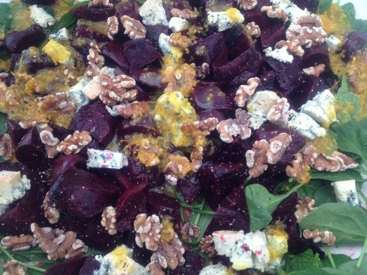 Beetroot, roasted kumara, blue cheese, walnuts, orange sauce https://www.facebook.com/catroux.newzealand