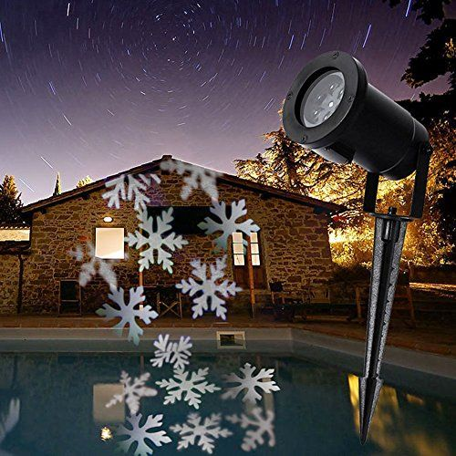 AlphaMY Waterproof Indoor Outdoor Automatically LED Moving White Snowflake Spotlight Lamp Halloween Christmas Holiday Decor Garden Landscape Decoration Projector Light >>> Click for Special Deals