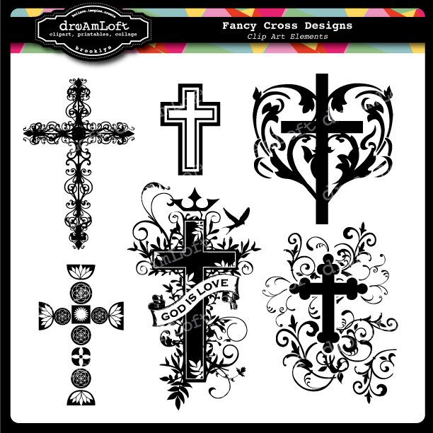 Fancy Cross Clip Art for religious cards, christenings, baptisms, communion and other crafts. $2.99, via Etsy.