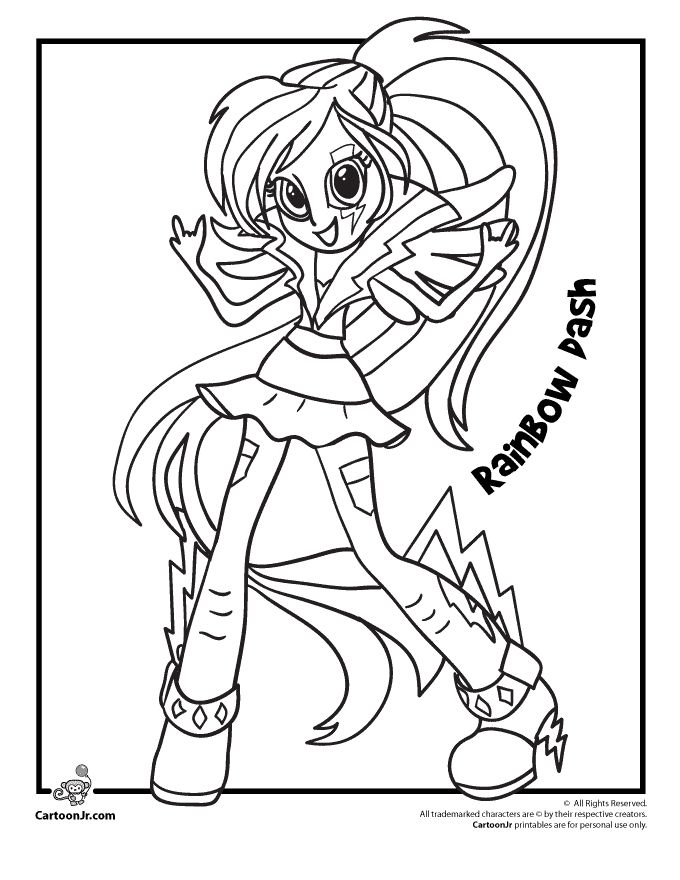My Little Pony Rainbow Dash From Equestria Girls Cartoon Rainbow Dash Equestria Coloring Page Printable
