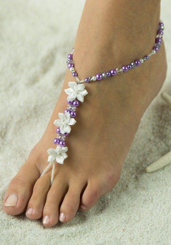 Pérolas lilás com flor
